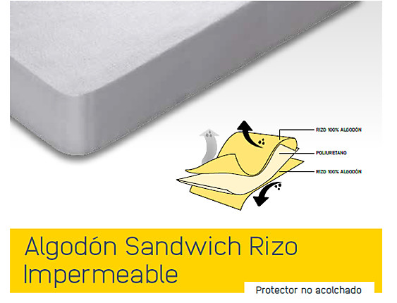 Mash - Cubrecolchón Impermeable 100% algodón Mash Sandwich
