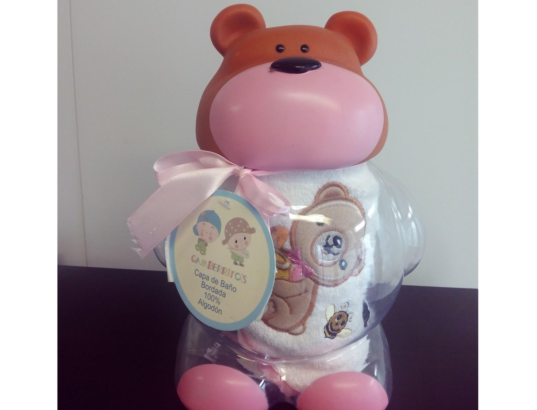 Nuestros Productos Pack Regalo Capa de Baño + Hucha Osito Rosa