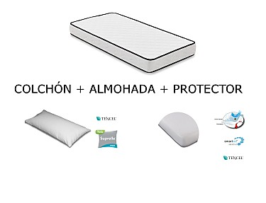 Mash - Kit Colchón + Protector+ Almohada para Cuna Mash