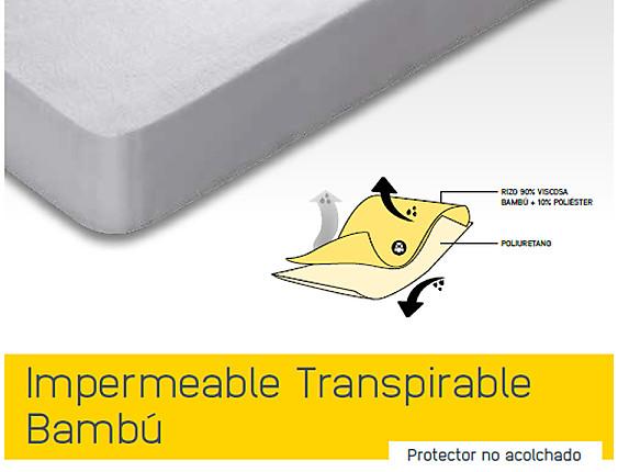 Mash - Cubrecolchón Impermeable Transpirable Bambú cama articulada (gemelos)