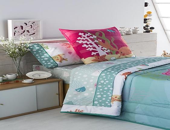 JVR - Juego de cama 100% algodón Sirena