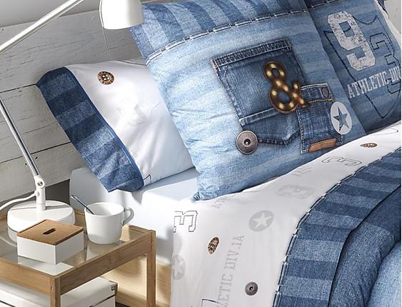 JVR - Juego de cama 100% algodón Jeans