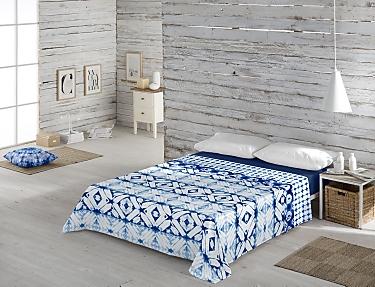 Euromoda - Juego de cama 100% Algodón Naturals Indigo