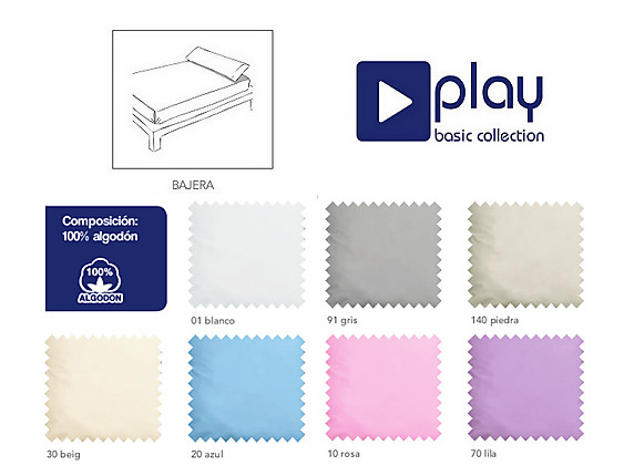 Cañete - Bajera ajustable 38CM Lisos 100% Algodón Play Basic alto especial