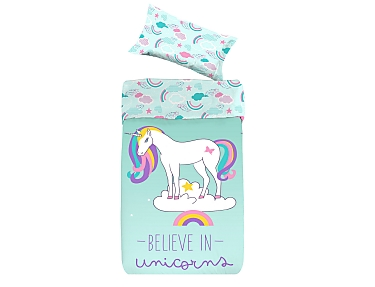 Denisa Home - Funda Nórdica para cuna-cama Belive in Unicorns