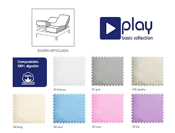 Cañete - Bajera ajustable cama articulada Lisos 100% Algodón Play Basic Collection