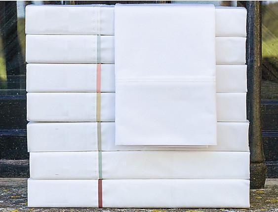 Cañete - Encimera Lisos Algodón Percal 200 hilos fondo blanco con vivo en color