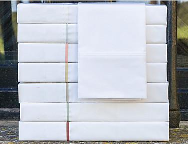 Cañete - Juego de cama Lisos Algodón Percal 200 hilos blanco con vivo
