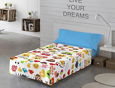 Euromoda - Juego de cama 100% Algodón Emoji Party