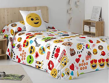 Euromoda - Colcha Bouti 100% Algodón Emoji Party