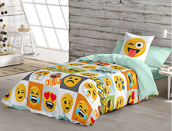 Euromoda - Funda nórdica 100% Algodón Emoji Hey