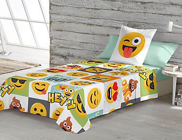 Euromoda - Juego de cama 100% Algodón Emoji Hey