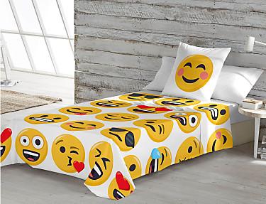 Euromoda - Juego de cama 100% Algodón Emoji Ily