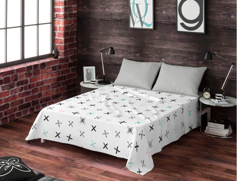 Euromoda Juego de cama 100% algodón Soft Indie