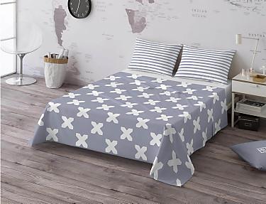 Euromoda - Juego de cama 100% algodón Evo Grey