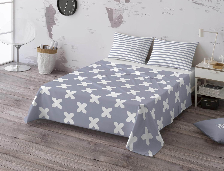 Euromoda Juego de cama 100% algodón Evo Grey