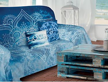 Euromoda Iceberg - Colcha foulard multiusos 100% Algodón Helenia