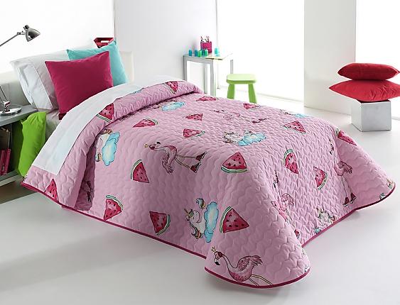Reig Marti - Edredón de acolchado fino tipo 2P Unicornios Pink