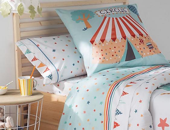 JVR - Juego de cama 100% algodón Circus