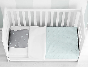 Euromoda - Funda Nórdica cuna Star Mint 100% algodón