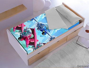 Denisa Home - Saco nórdico invierno interior coralina aviones Fly 3D