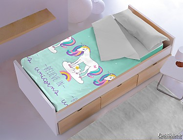 Denisa Home - Saco nórdico invierno interior coralina unicornios Belive in Unicorns