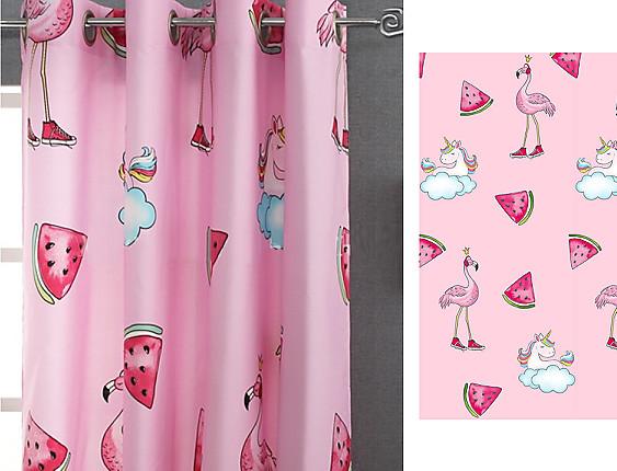 Reig Marti - Cortina Visillo con ollaos unicornios Pink